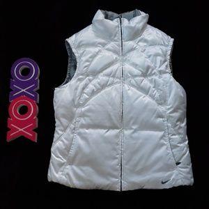 NIKE reversible down puffer vest silver n white